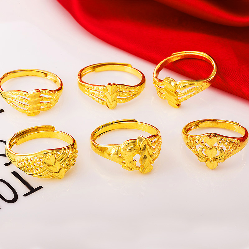 越南沙金戒指女不掉色开口欧币金戒指光面满天星爱心仿假黄金镀金