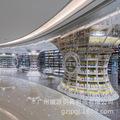 铁艺图书馆展示柜 白色烤漆书架展示架 简约现代圆形包柱图书展架