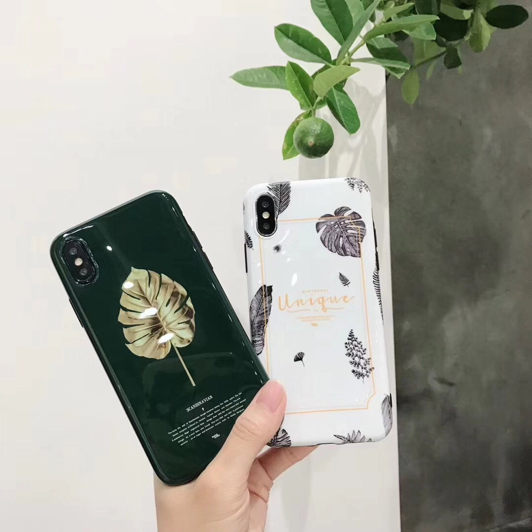 Ins with the same paragraph of literary fresh leaves Apple 6s mobile phone shell iphone8/7plus personality Japanese Korean models 7