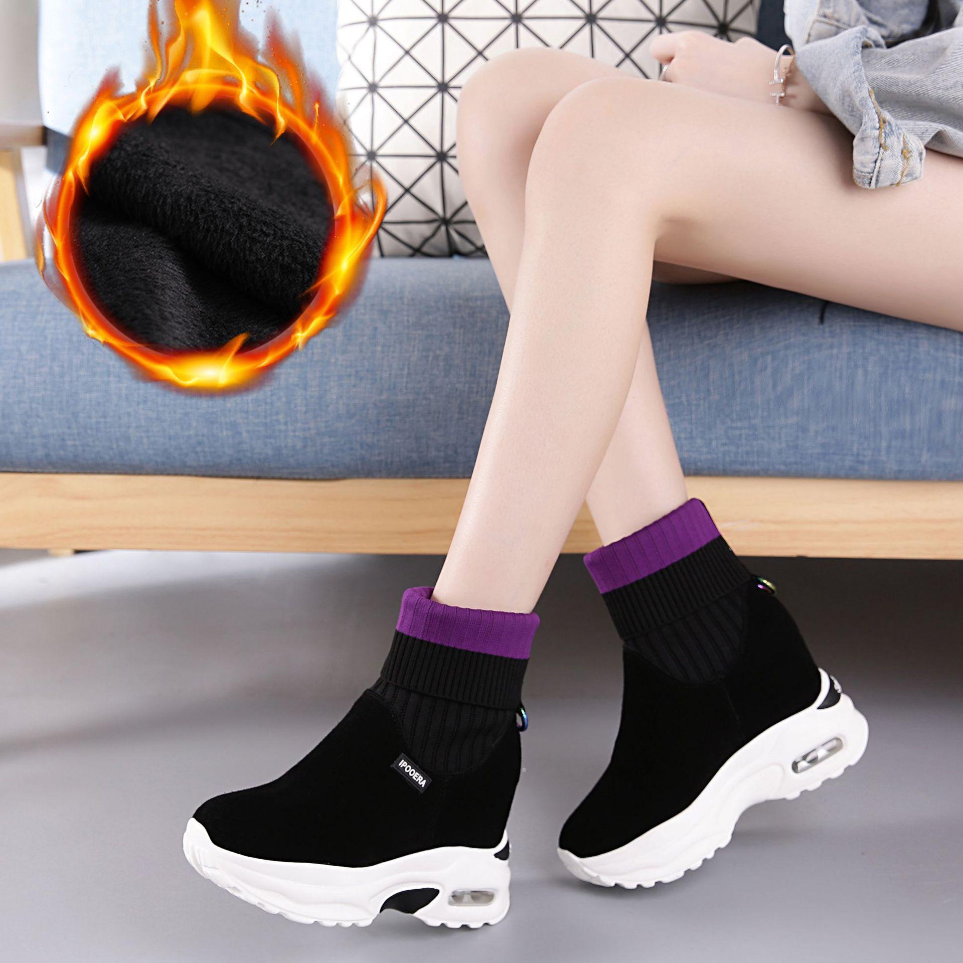 冬季内增高女鞋袜子靴女加绒毛线口磨砂真皮坡跟中筒短靴弹力靴子