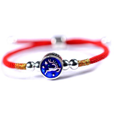 龙结 纯银925女款手工红绳饰品礼物一路有你一路平安手链厂家批发