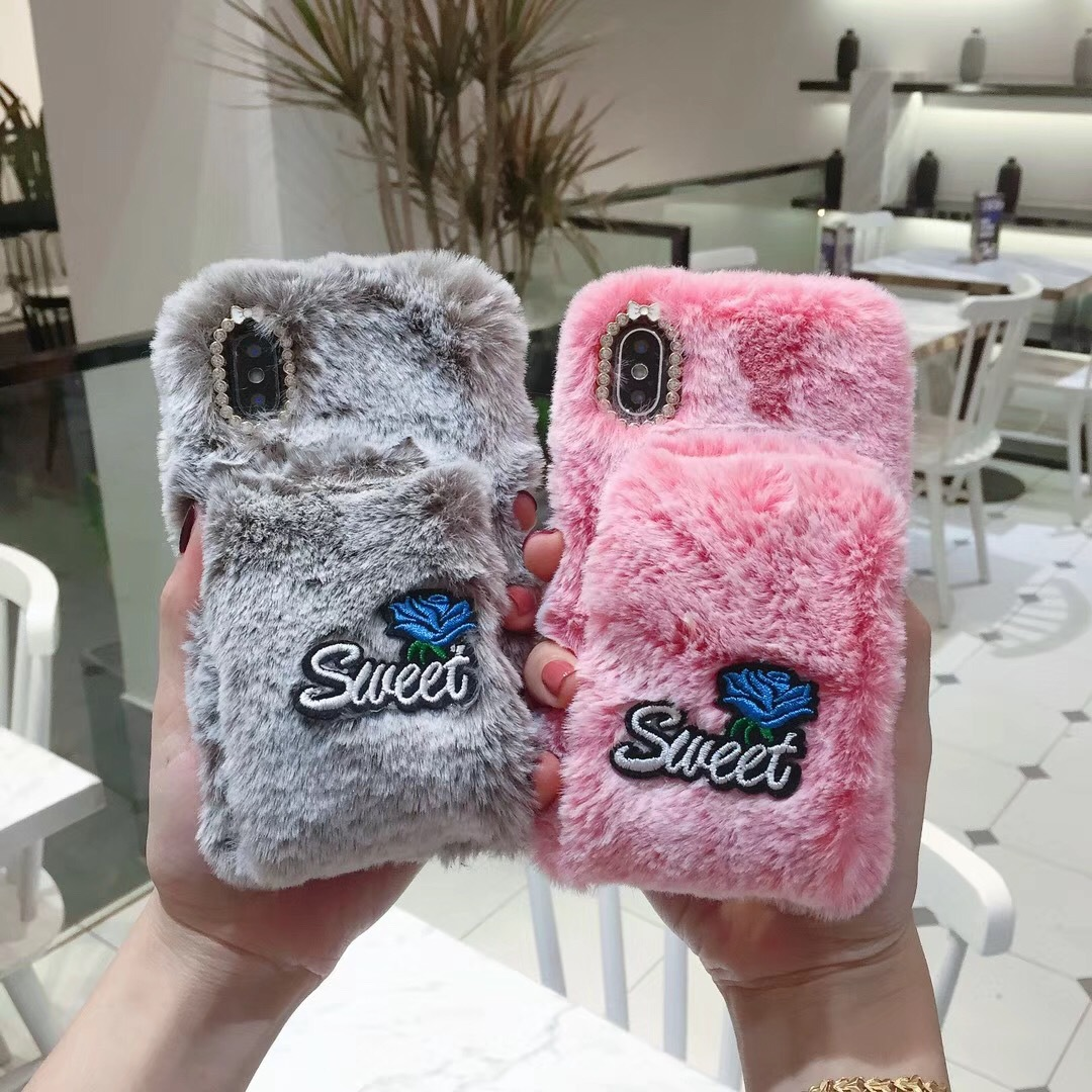 Winter warm wristband plush soft cover X21 for iPhoneX mobile phone shell Apple 8plus Rex Rabbit fur R17
