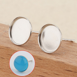 Tingxiang S925 sterling silver platinum-plated earrings flat bottom hollow beeswax turquoise female earrings 8mm round earrings