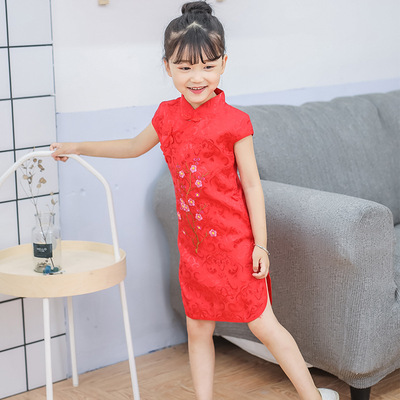 Children Chinese Dress cheongsam Tang embroidery plum blossom Hanfu girl Qipao princess skirt stall