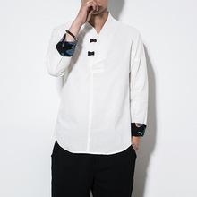 2018新款亲中国休闲T恤男士长袖衬衣棉麻体恤春秋打底盘扣上衣