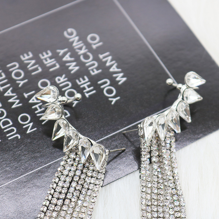 Imitated crystal&CZ Fashion Tassel earring  (Photo Color)  Fashion Jewelry NHYQ0126-Photo-Color