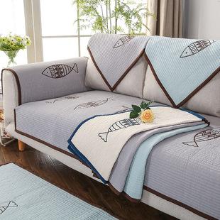 全棉绗缝沙发垫韩式水洗棉绣花大鱼三人坐防滑沙发垫套巾一件代发