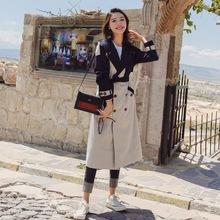 实拍2018秋季新款女装设计感复古慵懒chic风气质格子撞色风衣外套