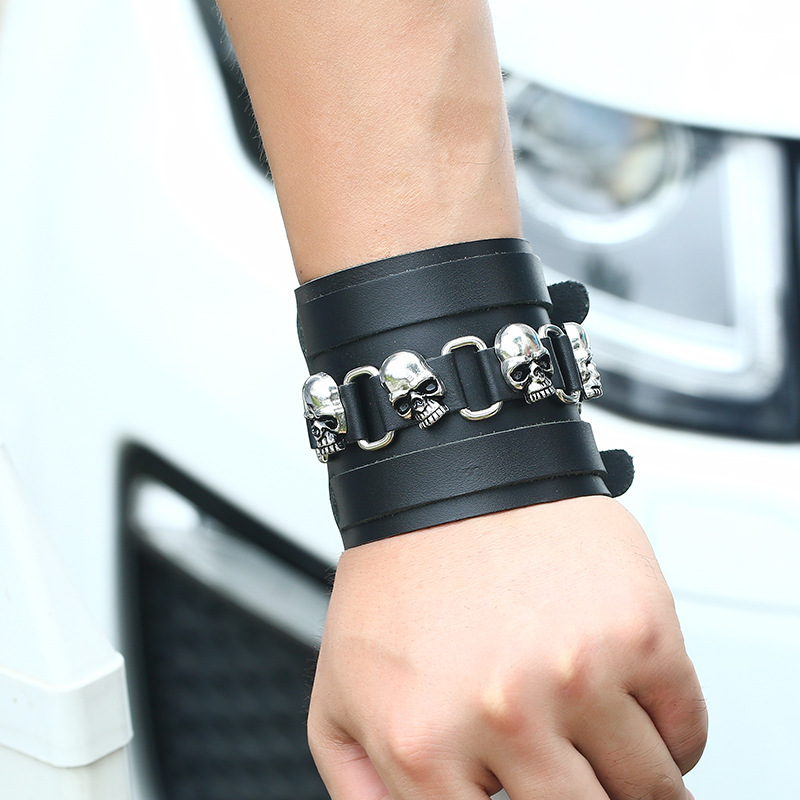 Leather Fashion Geometric bracelet  (Photo Color) NHPK1249-Photo Color