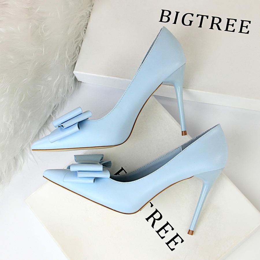 9219-33韩版甜美高跟鞋细跟高跟显瘦浅口尖头糖果色蝴蝶结女单鞋