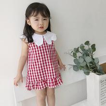 韩版童装2019夏季新款女童棉无袖翻领连衣裙宝宝婴儿童格子娃娃裙