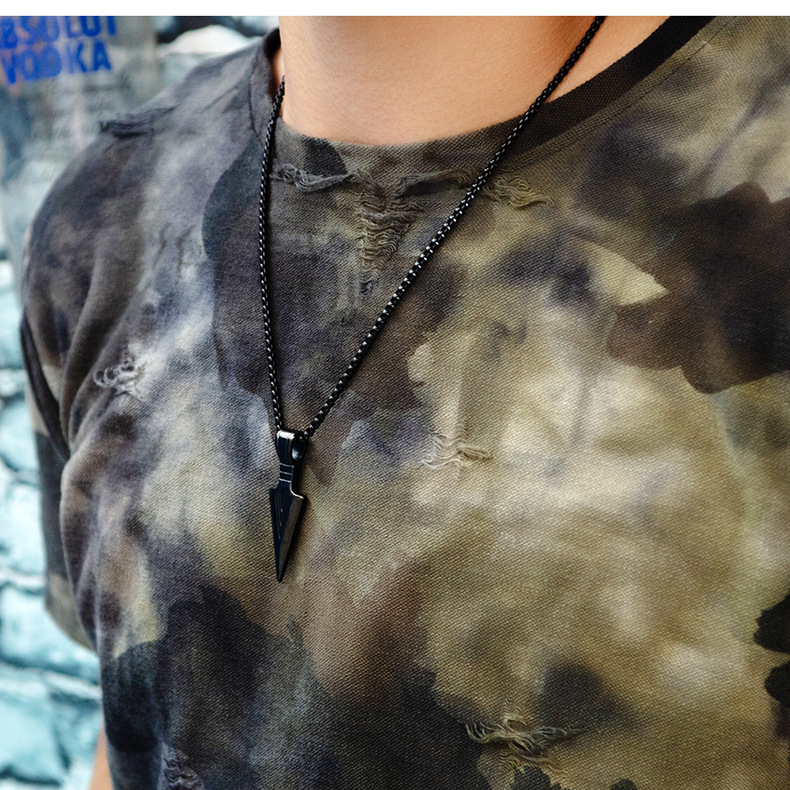Titanium&Stainless Steel Fashion Geometric necklace  (Steel color pendant + matching chain) NHOP2993-Steel-color-pendant-matching-chain