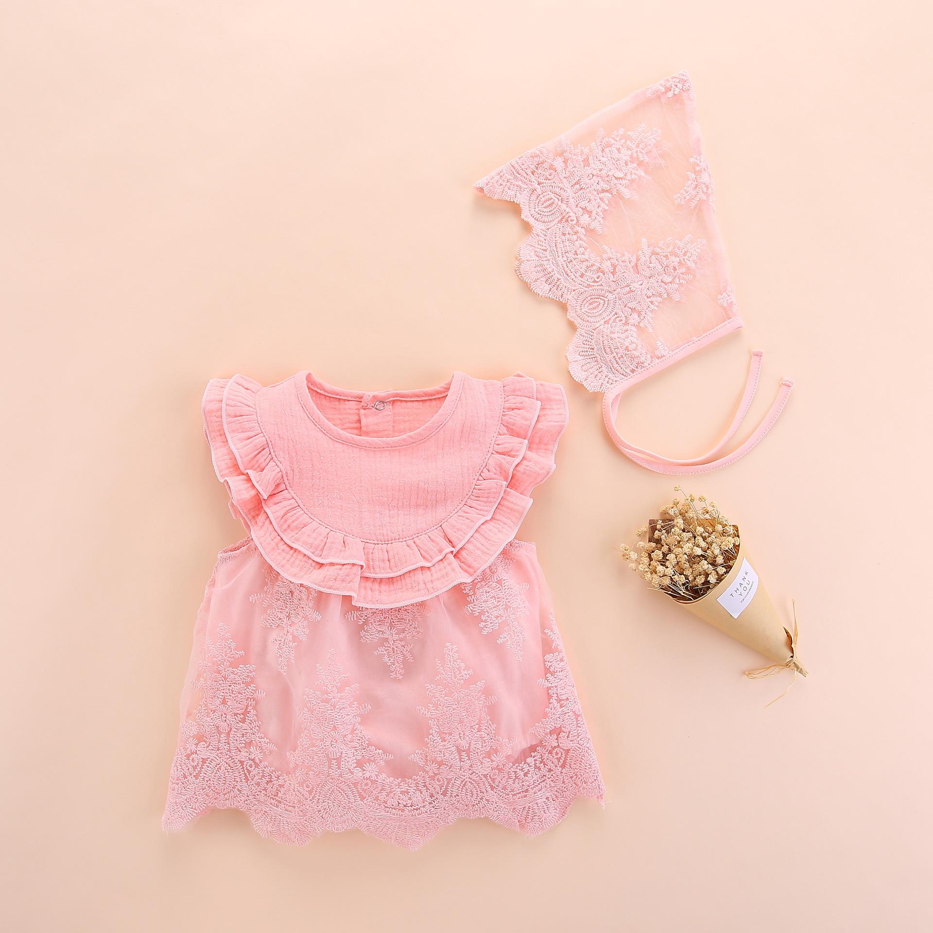 婴儿服装宝宝带帽网纱连体衣 宝宝哈衣公主裙 满月百天礼服 带帽