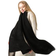 秋冬新款韓版大紅色波浪紋純色毛線加厚針織情侶圍巾保暖圍脖