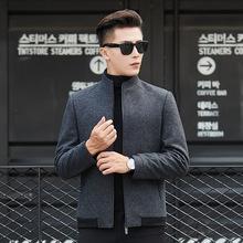 一件代发包邮高端男装羊毛夹克男士秋冬季韩版潮流毛呢子立领外套