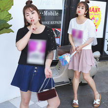 Live spike CS 29 large size women's personality T-shirt Trend short-sleeved shirt fat MM clothing  116