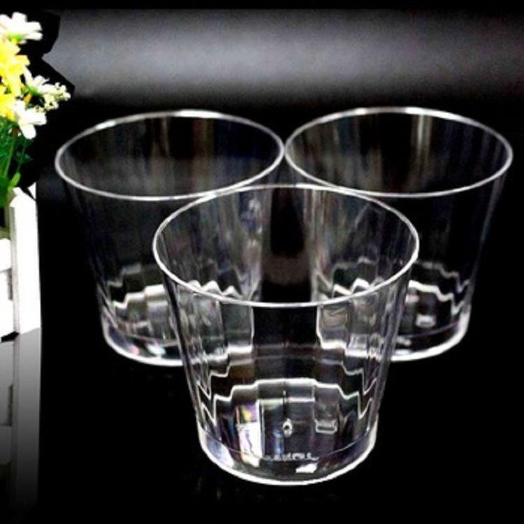工厂直销PS食品级一次性杯子表面条纹防滑航空杯300ml塑料杯子