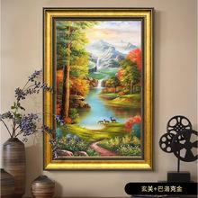 批发零售山水风景油画纯手绘有框客厅玄关壁画竖版三只小鹿聚宝盆