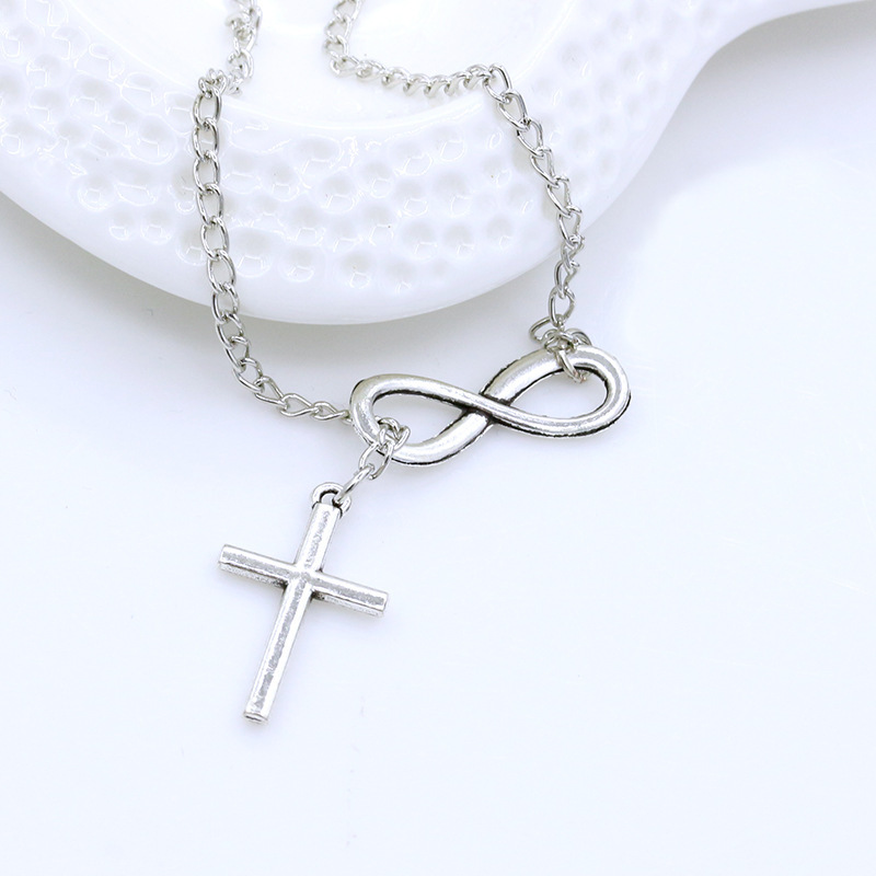 Necklace 8 character cross necklace ladies clavicle chain digital necklace wholesale NHCU192706