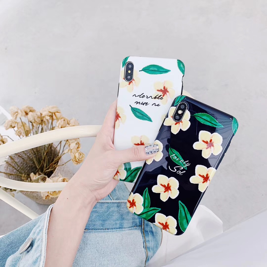 Japan and South Korea small fresh 7p pink green leaves for Apple iphonex simple flowers all-inclusive mobile phone case 8plus