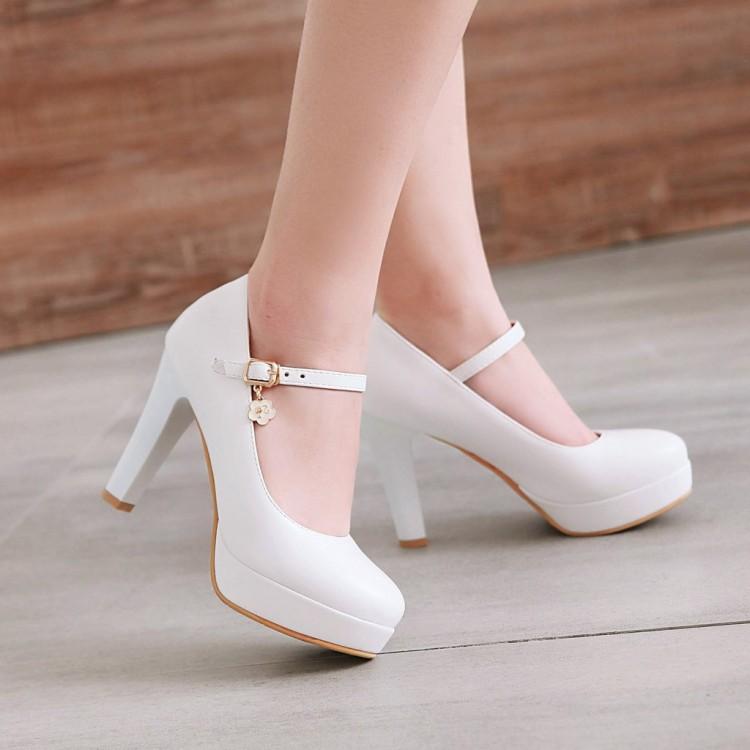 美鞋粗跟超高跟婚粉色白色特大码单鞋 40-47 小码女鞋 31-33 ELH