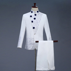men's jazz dance suit blazers Men Retro mountain set green style dress white with blue diamond and male standing collar