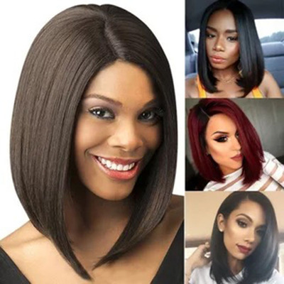 Bob Hair Wigs Perruques Bob Hair Pelucas De Cabello Bob Womens explosive wig Liu Haichang straight hair real hair Synthetic Wigs mechanism headgear