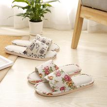 2018 phong cách Nhật Bản mới mùa hè hoa trượt trong nhà sàn trong nhà kéo dép lanh và dép giá sỉ Dép vải