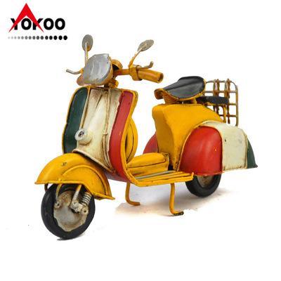 手工复古铁艺意大利踏板摩托车模型 家居饰品 金属工艺品