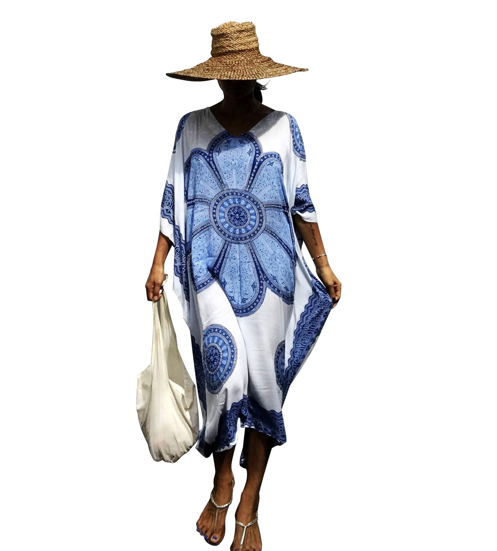 Polyester Fashionskirt(Big blue flower) NHXW0560-Big-blue-flower