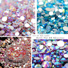 Nail color drill flat bottom mixed size AB drill bottle 280 four-color nail trend ornaments