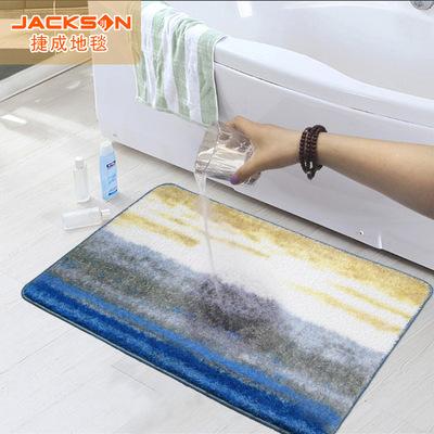 一件代发捷成地毯地垫印花毯浴室垫洗手间吸水入门防滑脚垫可机洗