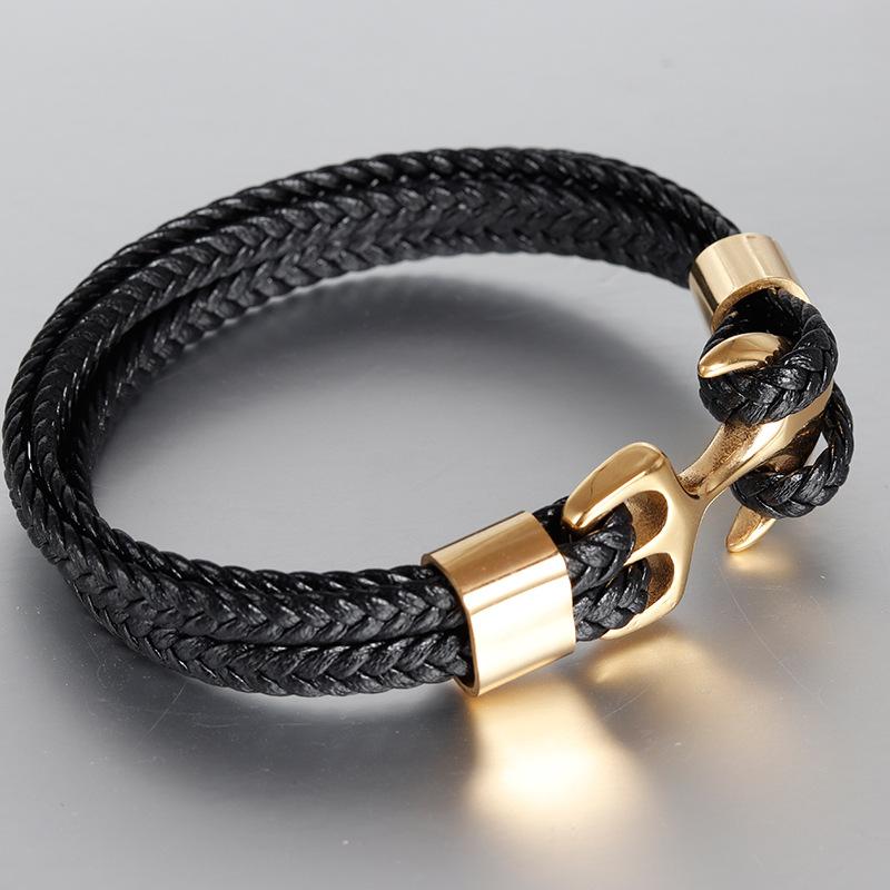 欧美男士钛钢手镯金色个性牛皮编织船锚不锈钢真皮手链皮绳L19175