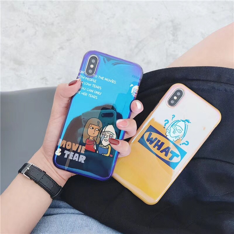 Ins Lin Shanshan net red with the same paragraph spoof graffiti Apple X mobile phone shell iphone7plus Blu-ray personality tide female