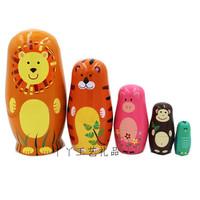 Пятислойная животная русская матрешка деревянная игрушка ремесла подарок желающий кукла День святого Валентина подарок