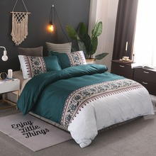新款速賣通亞馬遜wish熱銷床上用品簡約素色款被套枕套無床單套件
