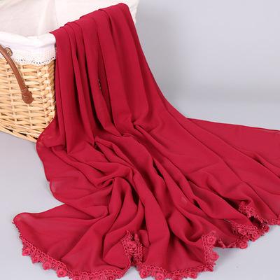 外贸热销穆斯林女士围巾 纯色珍珠雪纺梅花边盖头阿拉伯头巾 YW78