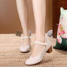 Thời trang nguyên bản cũ giày vải Bắc Kinh Hanfu phong cách quốc gia vuông với dày gân bò buộc đáy nông miệng đơn giày một thế hệ Giày nữ