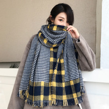 Houndstooth spell square plaid scarf female autumn winter shawl student warm shawl wild thick scarf