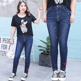 Autumn new large size women's fashion hollow embroidery jeans high elastic waist pants trousers N002
