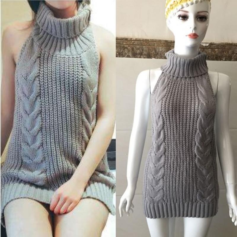 日系女装针织衫春新款性感日本中长款露背无袖系带毛衣裙七了个三