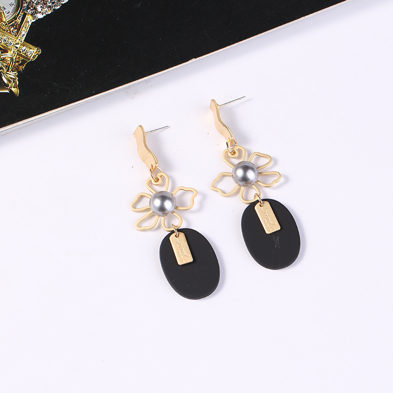 Alloy Fashion Flowers earring  (Gray KC alloy) NHKQ2137-Gray-KC-alloy
