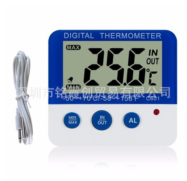C601室内外迷你报警温度计 电子冰箱温度表 -50-+70度