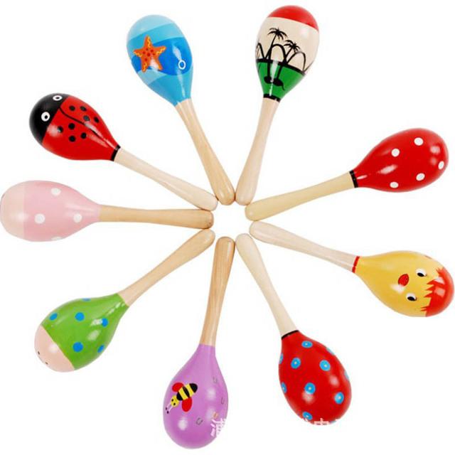 跨境直供 儿童木制小号沙锤 沙球 木质卡通沙锤 婴幼儿益智玩具