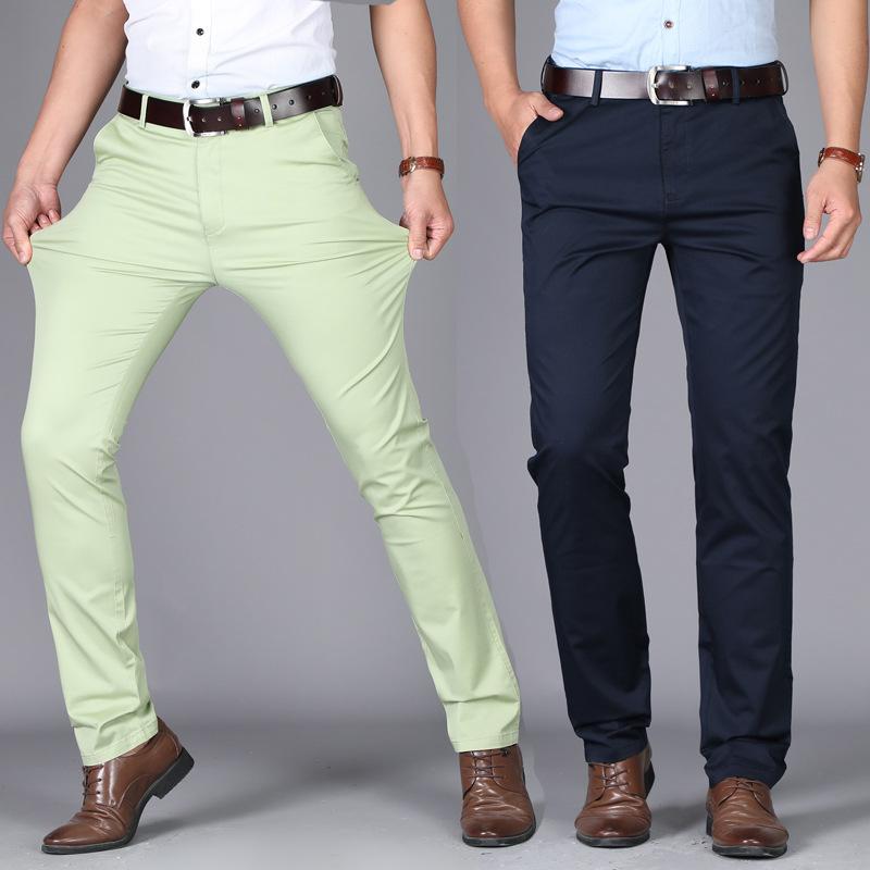 2020新款夏季男士休闲裤韩版时尚弹力棉修身直筒男装薄款长裤免烫