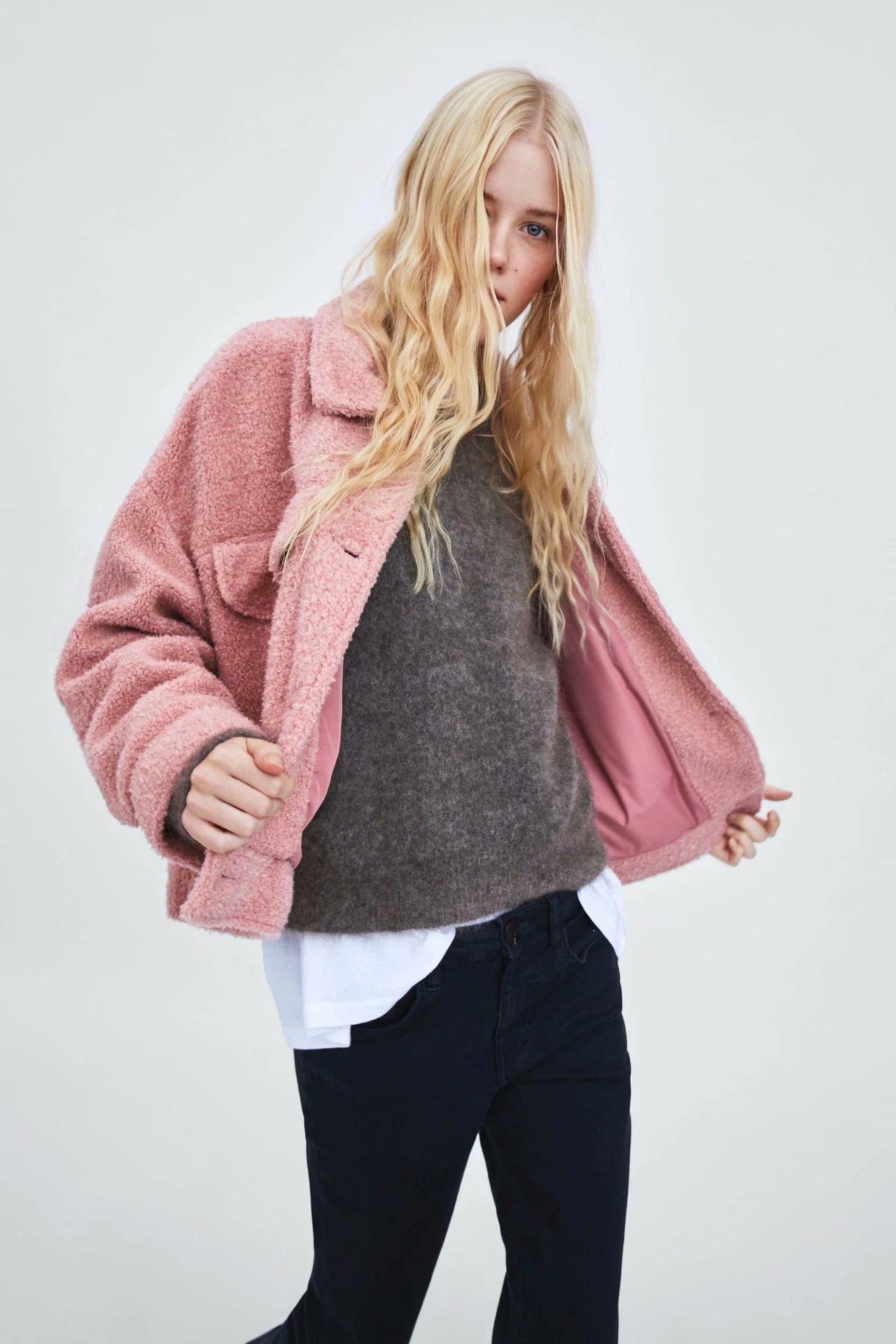 Polyester Fashion  coat  (Pink-L) NHAM6721-Pink-L