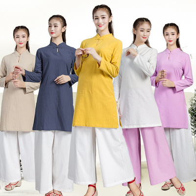 Cotton and linen Chinese women's suit tea yoga meditation taichi clothing Female Zen Literary Retro Improved Long Sleeves