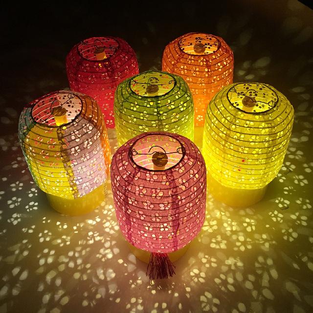 折叠幼儿园商场超市结婚婚礼装饰用品纸灯笼七彩镂空冬瓜diy灯笼