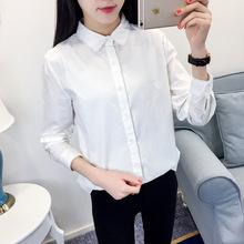 2018秋裝新款韓版純色襯衫女長袖百搭純棉花邊打底襯衣女式襯衫