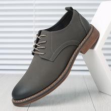 新款男士牛筋底皮鞋舒适韩版男鞋潮英伦风真皮休闲皮鞋一件代发